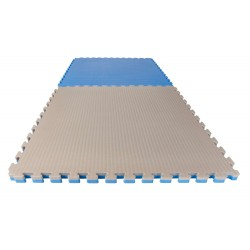 TAPIS PUZZLE REVERSIBLE BASIC 4 cm BLEU/GRIS