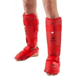RED KARATE SHIN/FOOT GUARD, TOKAIDO, WKF APPROVED,